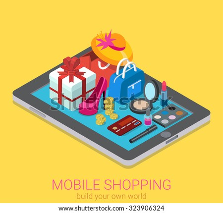 Flat 3d isometric creative mobile shopping web infographics consumerism concept. Beauty accessory fashion clothes goods on big tablet. Creative people collection. - stock vector
