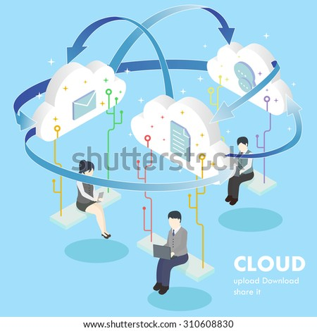 flat 3d isometric design of cloud computing concept - stock vector