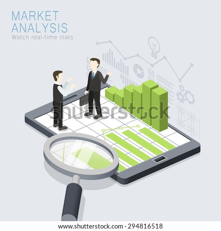 flat 3d isometric design of market analysis concept - stock vector
