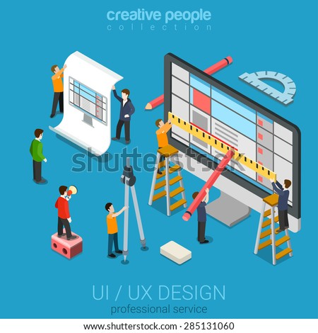 Flat 3d isometric desktop UI/UX design web infographic concept vector. Crane micro people creating interface on computer. User interface experience, usability, mockup, wireframe development concept. - stock vector