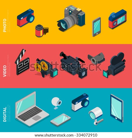 Flat 3d isometric digital electronics computer photo video equipment icon set concept web infographics vector. Laptop tablet PC webcam camera DSLR camcorder security smart phone mobile app. - stock vector