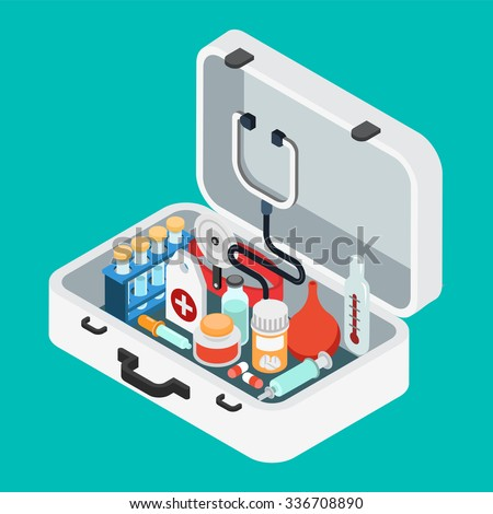 Flat 3d isometric doctor case first aid kit concept web infographics vector illustration. Stethoscope light thermometer clyster enema pill pipette salve syringe flask. - stock vector