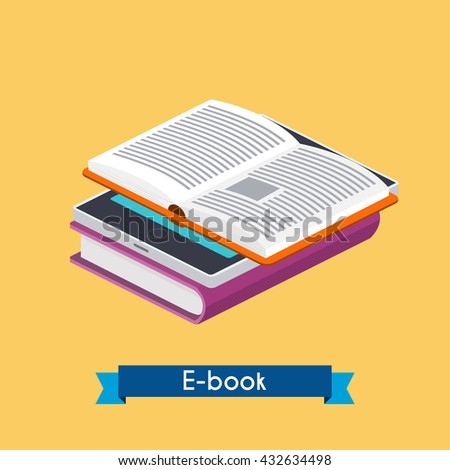 Flat 3d isometric e-book reader and books. Online reading. E-learning concept. Flat design modern vector illustration concept. - stock vector