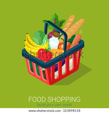 Flat 3d isometric food grocery shopping web infographics concept. Shopping cart full of vegetable fruit milk cheese baguette bread. Creative people collection. - stock vector
