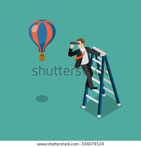 Flat 3d isometric future look forecast concept web infographics vector illustration. Businessman on stepladder looking through binoculars on balloon. Creative people collection. - stock vector
