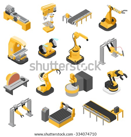 Flat 3d isometric heavy industry machinery icon set concept web infographics vector illustration. Woodworking power-saw ench jigsaw manipulator robot robotics robotized. Creative people collection. - stock vector