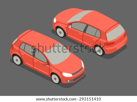 Flat 3d isometric high quality city transport icon. Hatchback car. - stock vector