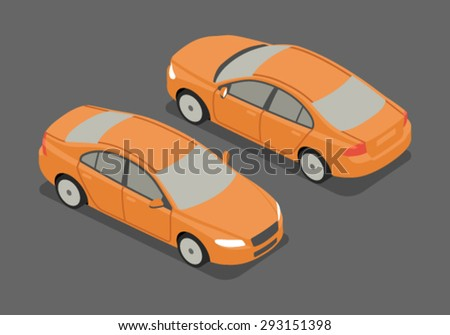 Flat 3d isometric high quality city transport icon. Sedan car. - stock vector