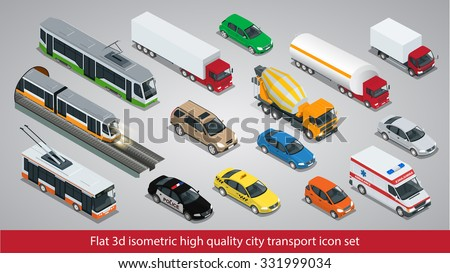 Flat 3d isometric high quality city transport icon set. Subway train, Building mixer, ambulance, Police, taxi, truck, trolleybus, safari travel car, Mini, tram, Oil Tanker. - stock vector