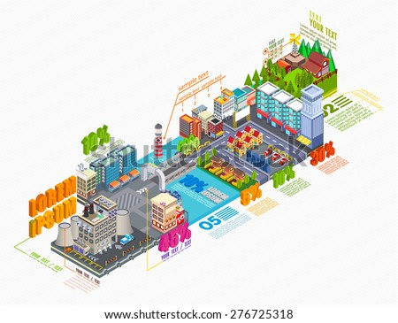 Flat 3d isometric industrial and business city district map, Infographic elements collection, City center on the map with lots of buildings, skyscrapers, factories, and parks, illustrator Vector - stock vector