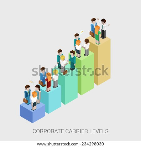 Flat 3d isometric infographic concept of company corporate carrier ladders management structure web concept vector template. Bar graphic with standing business people. Departments and teamwork. - stock vector