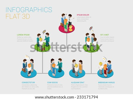 Flat 3d isometric infographic concept of company corporate department team diagram structure web concept vector template. Connected platform pedestals groups of business people. Organization chart. - stock vector