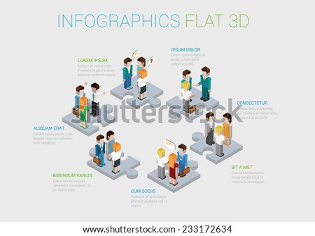 Flat 3d isometric infographic concept of teamwork, collaboration, workforce, winning staff web concept vector template. Puzzle pieces with groups of business people. Corporate structure. - stock vector