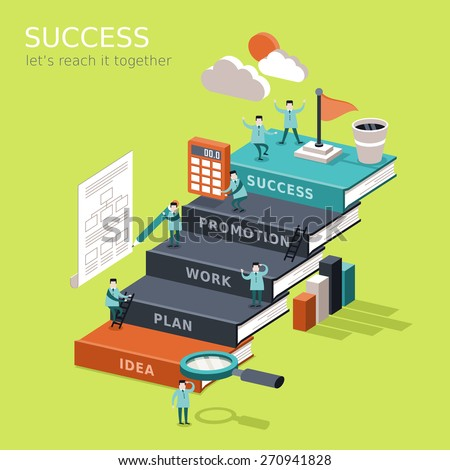 flat 3d isometric infographic for reach success concept with businessman climbing up book stairs to reach their goal - stock vector