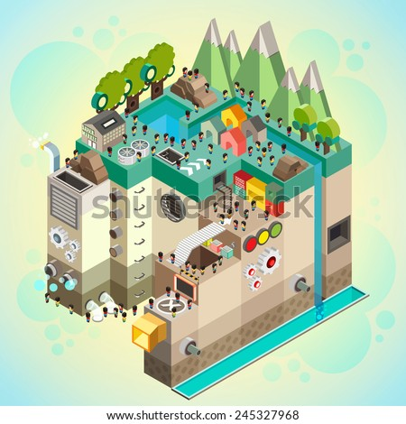 Flat 3d isometric infographics  concept art,  Board game with city building and people over path, Vector illustrator - stock vector