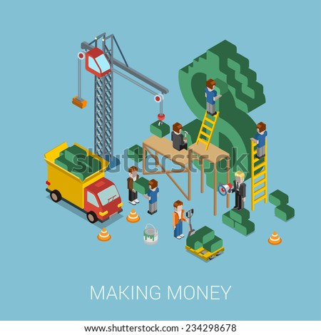 Flat 3d isometric making money web infographic concept vector. Crane and people making big $ USD dollar sign. People constructing manager boss foreman pallet. Business, commerce, money-making concept. - stock vector