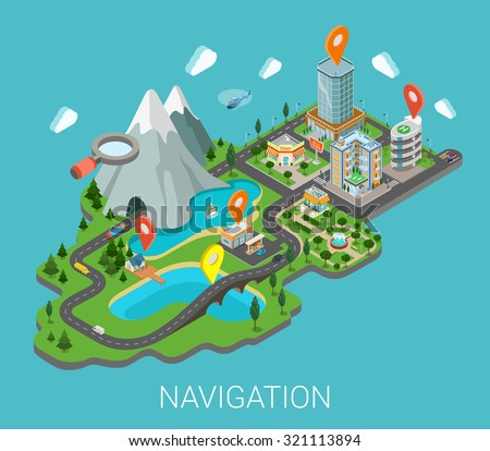 Flat 3d isometric map mobile GPS navigation app infographic concept. City countryside lake mountain gas station park restaurant bridge hotel shopping mall route pin markers. Navigate info graphics. - stock vector