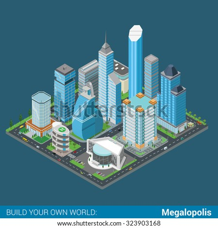 Flat 3d isometric megalopolis business city center building block infographic concept. Skyscrapers mall municipal office parking concert hall. Build your own infographics world collection