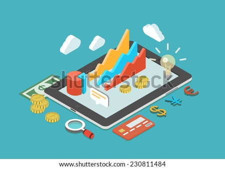 Flat 3d isometric mobile application, business analytics, finance analysis app, sales statistics, monetary concept infographic vector. Collage icons: chart graphs, tablet, coins, credit card, dollar. - stock vector