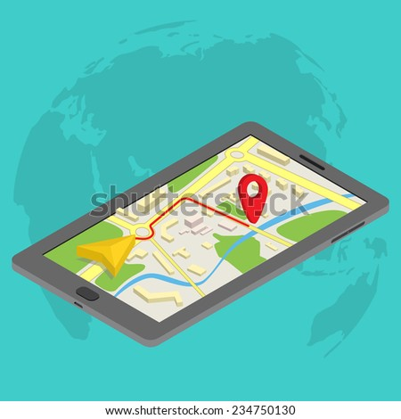Flat 3d isometric mobile GPS navigation maps infographic concept vector. Tablet with digital satellite map - stock vector