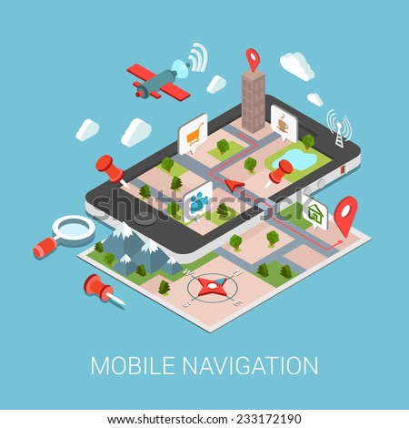 Flat 3d isometric mobile navigation web infographic concept vector. Paper map touch screen gps tablet layer marker points POI satellite search magnifier city building route tracking pin street view. - stock vector