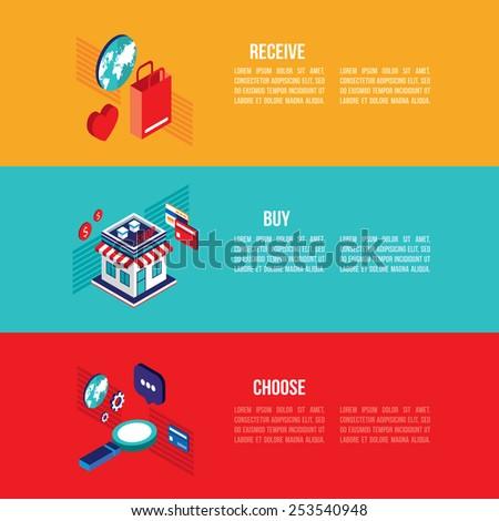 Flat 3d isometric modern design Online shopping and e-commerce banner set - stock vector