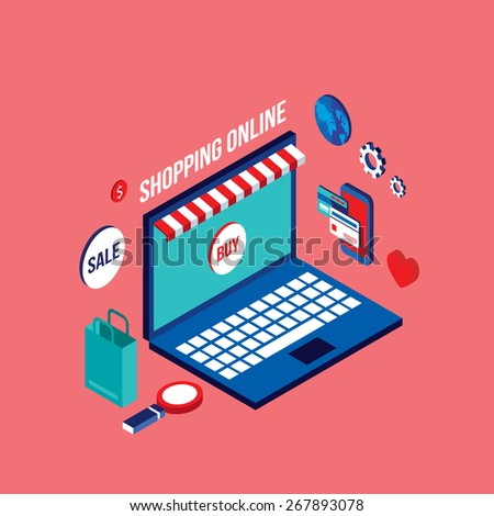 Flat 3d isometric modern design Shopping online Successful business e-commerce concept - stock vector