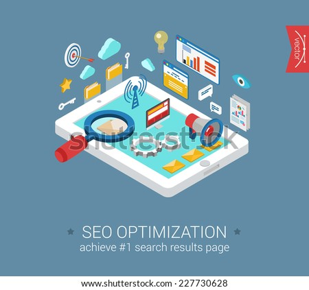 Flat 3d isometric modern style seo optimization tablet computer interface window objects template. Analytics report, cloud computing, mobile email, search engine magnifier. Isometrics collection. - stock vector