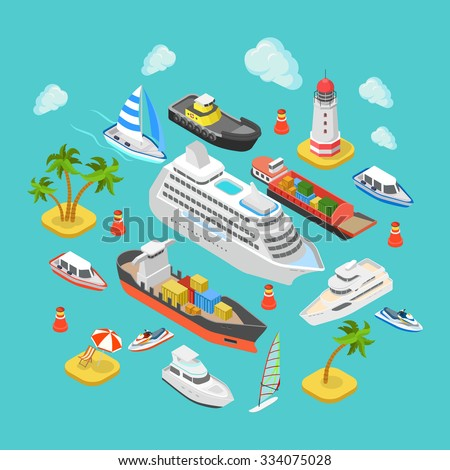 Flat 3d isometric ocean sea nautical water transport logistics concept web infographics vector illustration icon set. Cruise liner container longboat yacht jetski motor boat ship tropical beach island - stock vector
