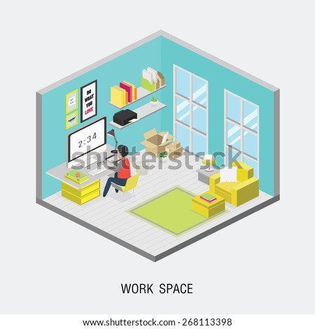 Flat 3d isometric office concept. Web style modern info graphics with digital office workplace. - stock vector