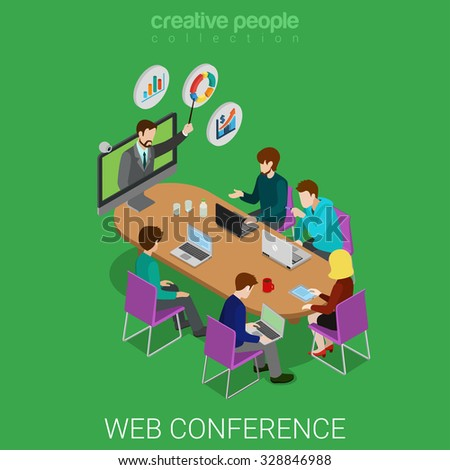 Flat 3d isometric online education webinar conference web infographics concept. Teacher coach from web camera and student class meeting room. Creative people collection. - stock vector
