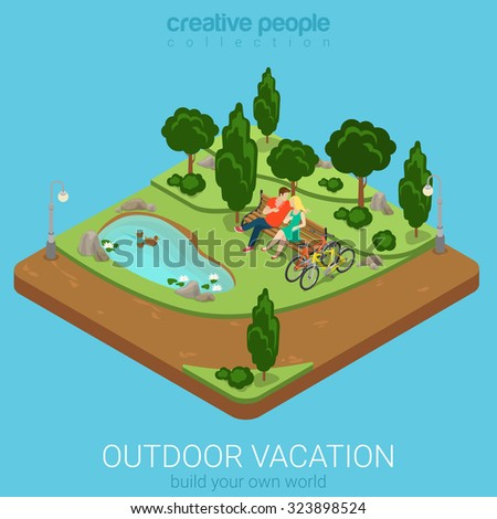 Flat 3d isometric outdoor vacation web infographics concept. Cycling couple relax on bench by the pond in forest park. Creative people collection. - stock vector