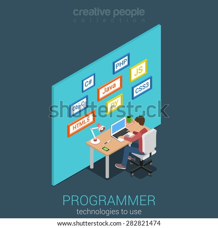 Flat 3d isometric program software app developer workplace concept. Web programmer business analyst code developer junior middle coder team leader product owner infographics. Internet technology. - stock vector