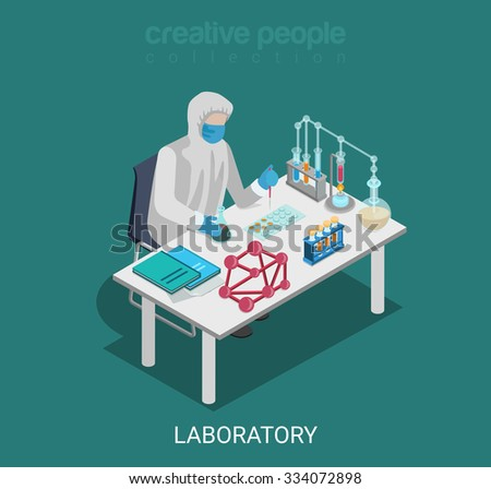 Flat 3d isometric science lab experiment research pharmaceutics chemical concept web infographics vector illustration. Scientist dropper flask test tube. Creative people collection. - stock vector