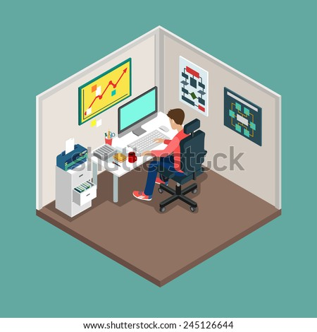 Flat 3d isometric SCRUM process concept. Web style modern infographics with digital office workplace. Programmer, business analyst, code developer junior / senior coder / team leader / product owner. - stock vector