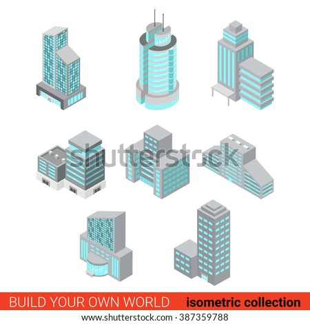 Flat 3d isometric set of business office center block building glass skyscraper block infographic concept. Build your own infographics world collection.