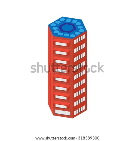 flat 3d isometric skyscraper. business center. solar panels on the roof and elevator. Isolated on white background.  for games, icons, maps. - stock vector