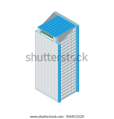 flat 3d isometric skyscraper. business center. solar panels on the roof and two elevators. Isolated on white background.  for games, icons, maps. - stock vector