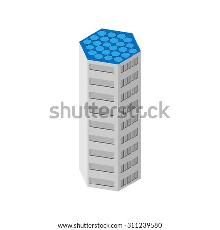 flat 3d isometric skyscraper. business center. solar panels on the roof. Isolated on white background.  for games, icons, maps. - stock vector