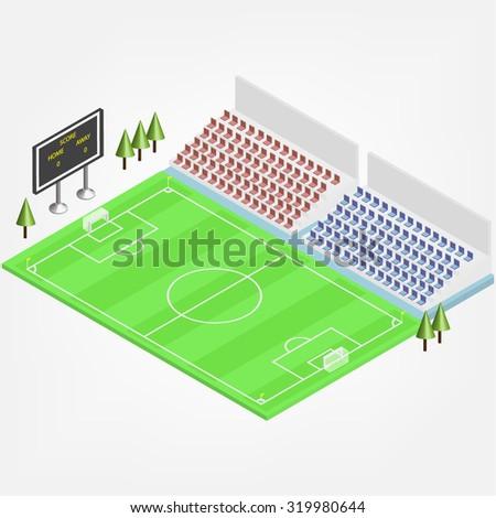 flat 3d isometric soccer/football stadium. vector  - stock vector