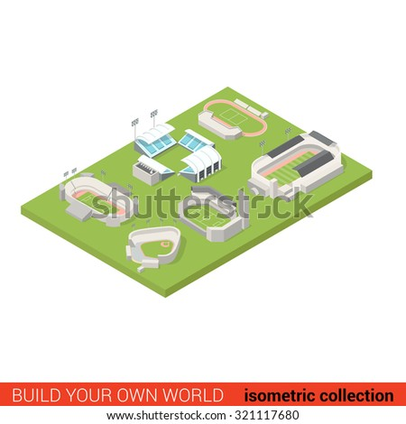 Flat 3d isometric sport stadium ground playground building block infographic concept. Soccer american football tennis baseball rugby. Build your own infographics world collection. - stock vector
