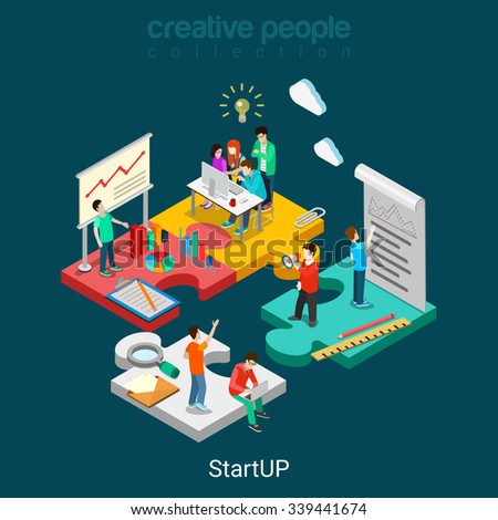 Flat 3d isometric StartUP concept web infographics vector illustration. Puzzle solution idea research report team business planning. Creative people collection. - stock vector
