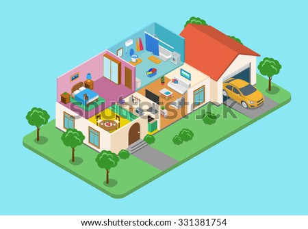Flat 3d isometric style home indoor interior exterior open transparent ceiling concept web infographics vector illustration. Creative architecture info graphic collection. - stock vector