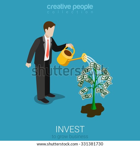 Flat 3d isometric style invest concept web infographics vector illustration. Businessman watering plant with dollar leaves. Creative people collection. - stock vector