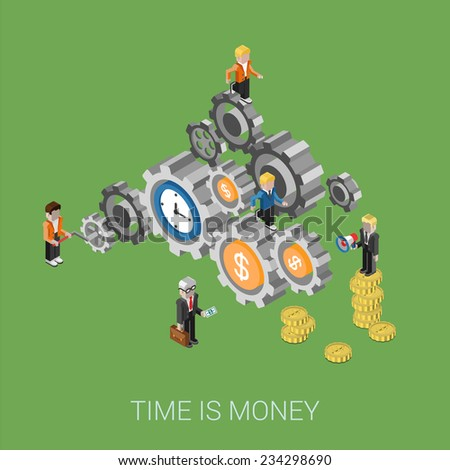 Flat 3d isometric style modern time is money, teamwork, workforce staff web site infographic concept. Conceptual illustration business people on cog wheels. Time and coins as parts of process. - stock vector