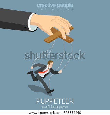 Flat 3d isometric style puppeteer business concept web infographics vector illustration. Businessman puppet and big managing hand. Creative people website conceptual collection. - stock vector