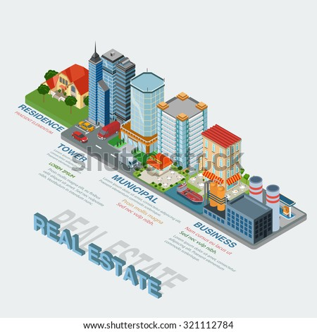 Flat 3d isometric style real estate types thematic infographics concept. Residence business tower public municipal industrial info graphic. Conceptual web site infographic collection. - stock vector