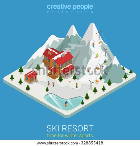 Flat 3d isometric style ski resort winter mountain sports travel concept web infographics vector illustration. Piece hilly land snowboard track ice lake. Creative people website conceptual collection. - stock vector