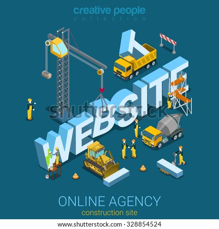 Flat 3d isometric style website building process concept web infographics vector illustration. Construction big letters crane builder concrete mixer. Creative people web site conceptual collection. - stock vector