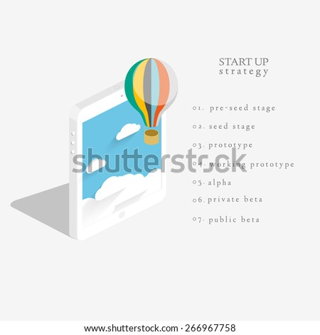 Flat 3d isometric vector design of the startup process, cloud storage, responsive web design and SEO with hot air balloon - stock vector